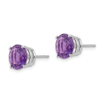 14k White Gold 8mm Amethyst Earrings