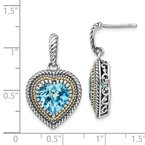 Shey Couture Sterling Silver w/14k Lt Swiss Blue Topaz Heart Dangle Post Earrings