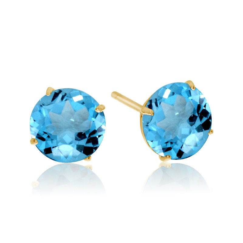 Color Merchants 6mm Round 14k Yellow Gold Blue Topaz Stud Earrings