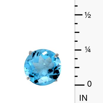 6mm Round 14k Yellow Gold Blue Topaz Stud Earrings