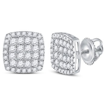 14kt White Gold Womens Round Diamond Square Cluster Earrings 3/4 Cttw