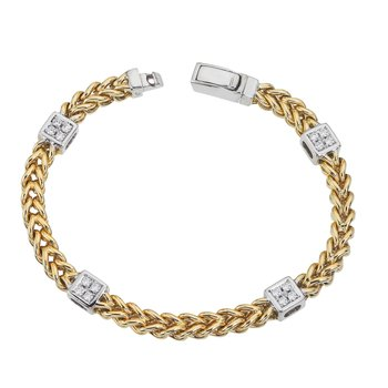Two-Tone Braided Bracelet with Diamond Squares