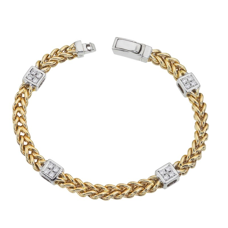 DA Gold Two-Tone Braided Bracelet with Diamond Squares