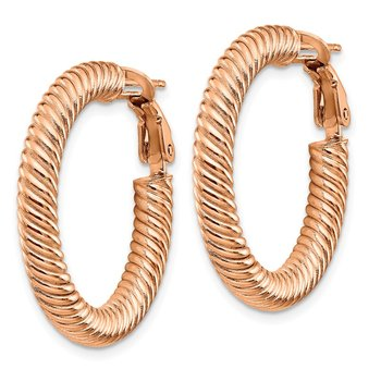14k 4x20mm Rose Gold Twisted Round Omega Back Hoop Earrings