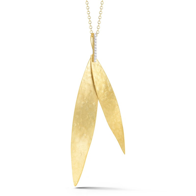 I. Reiss 14K-Y LEAF PEND., 0.06CT