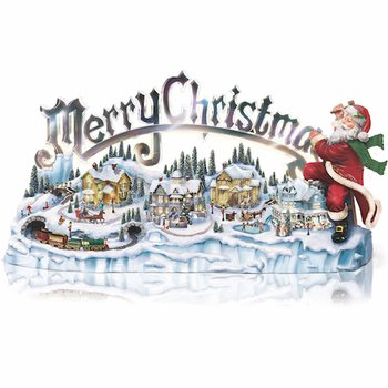 "Item no:109497001      ""Thomas Kinkade Santa's Inspiration"": Lights, Music, Motion"