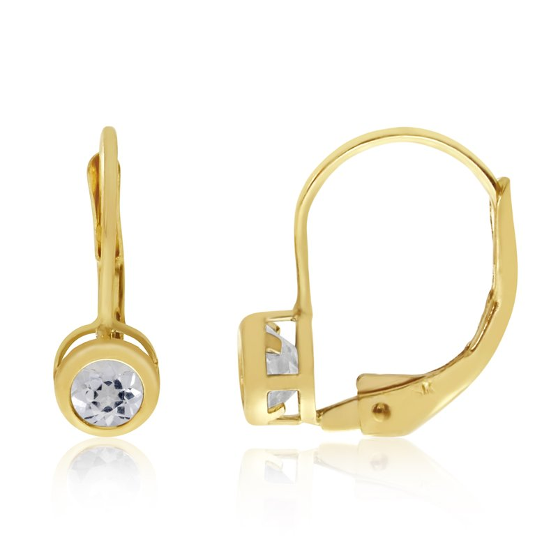 Color Merchants 14k Yellow Gold 4mm White Topaz Bezel Leverback Earrings
