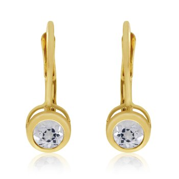 14k Yellow Gold 4mm White Topaz Bezel Leverback Earrings