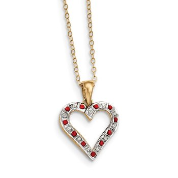 SS Diamond Mystique Gold-plated Dia. & Ruby 18in Heart Necklace