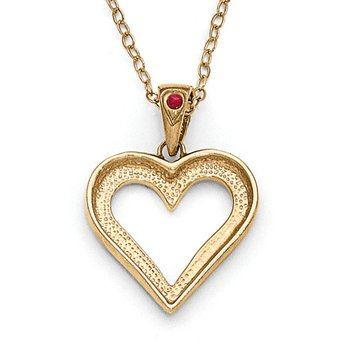 Sterling Silver & Gold-plated Dia. & Ruby 18in Heart Necklace