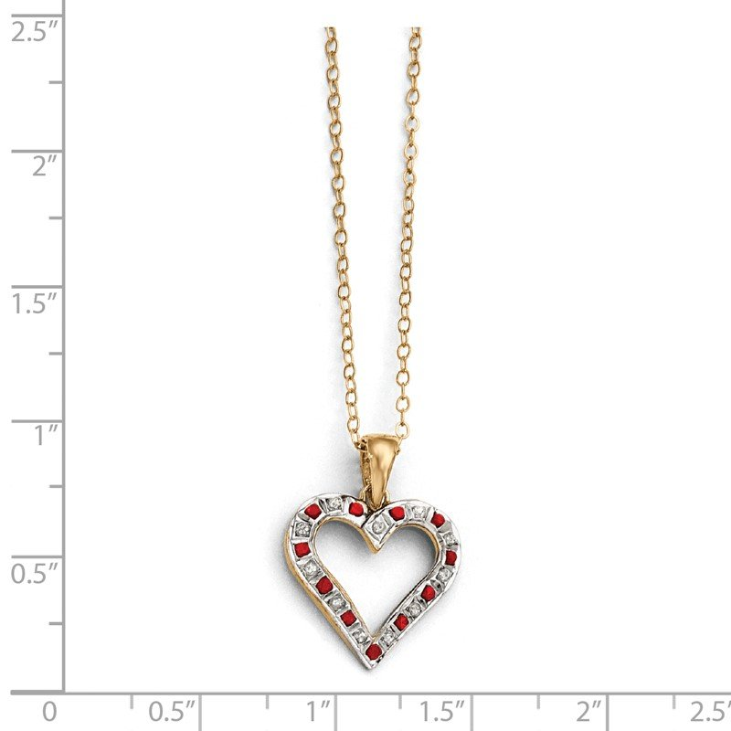 Quality Gold SS Diamond Mystique Gold-plated Dia. & Ruby 18in Heart Necklace