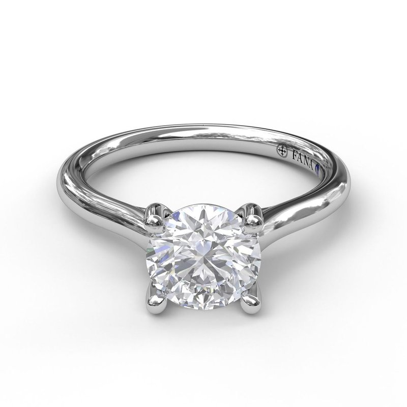 Fana Round Solitaire With Cathedral Band Engagement Ring