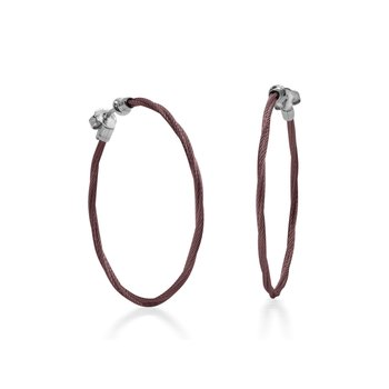 Burgundy Cable 1.5″ Hoop Earrings with 18kt White Gold