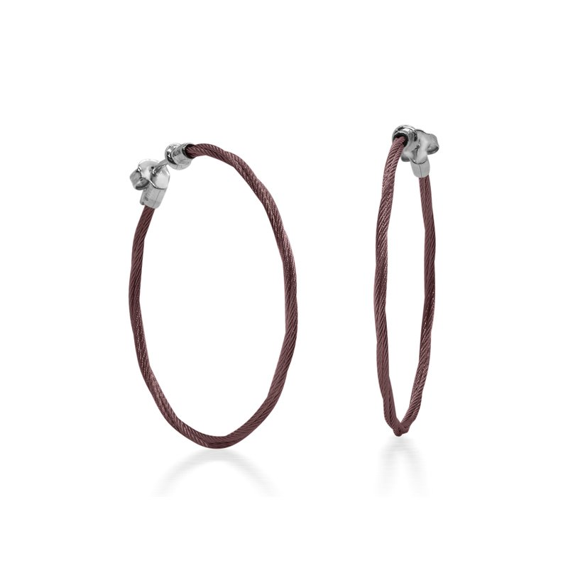 ALOR Burgundy Cable 1.5″ Hoop Earrings with 18kt White Gold