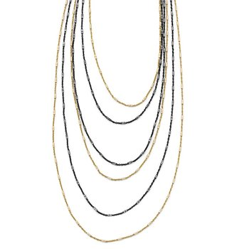 Leslie's Sterling Silver Gold/Black Rhodium-plated 1in ext. Necklace