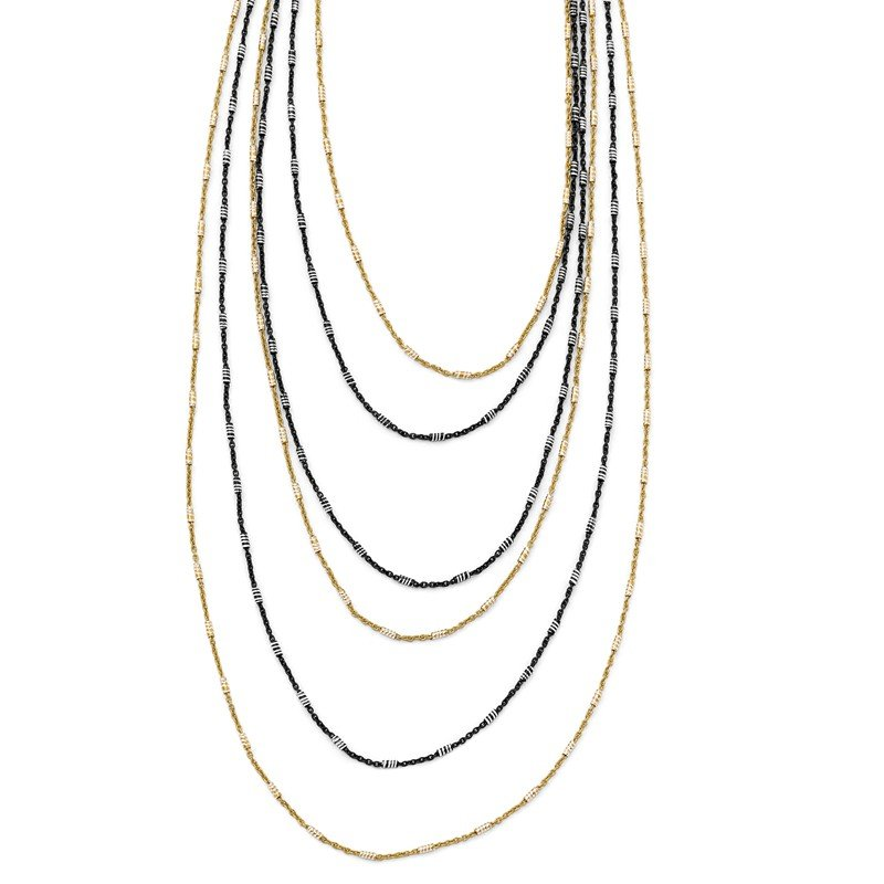 Leslie's Leslie's Sterling Silver Gold/Black Rhodium-plated 1in ext. Necklace