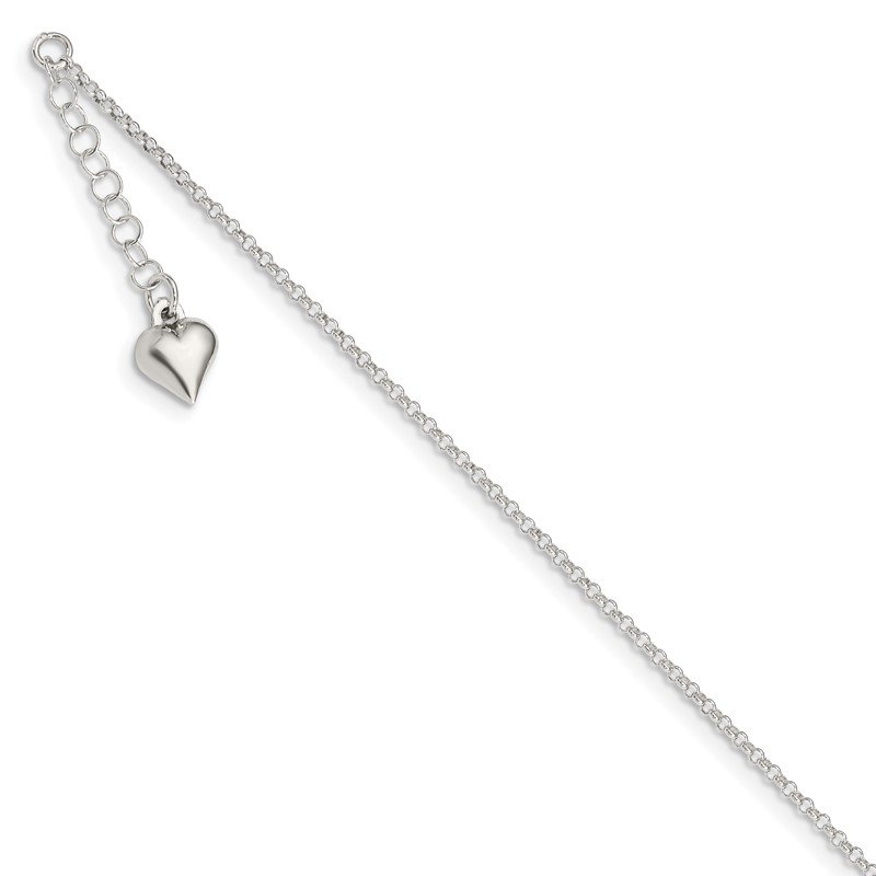 Quality Gold Sterling Silver Polished Heart 9in Plus 1in Ext. Anklet