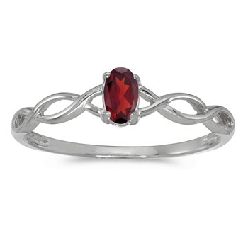 14k White Gold Oval Garnet Ring