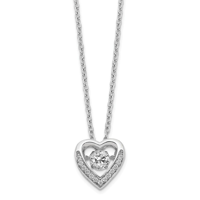 Cheryl M Cheryl M Sterling Silver Brilliant-cut Moving Center CZ Heart Necklace