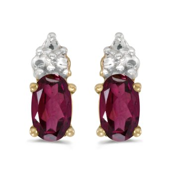 10k Yellow Gold Oval Rhodolite Garnet Earrings