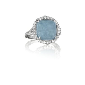Cushion Blue Jean Aquamarine Ring