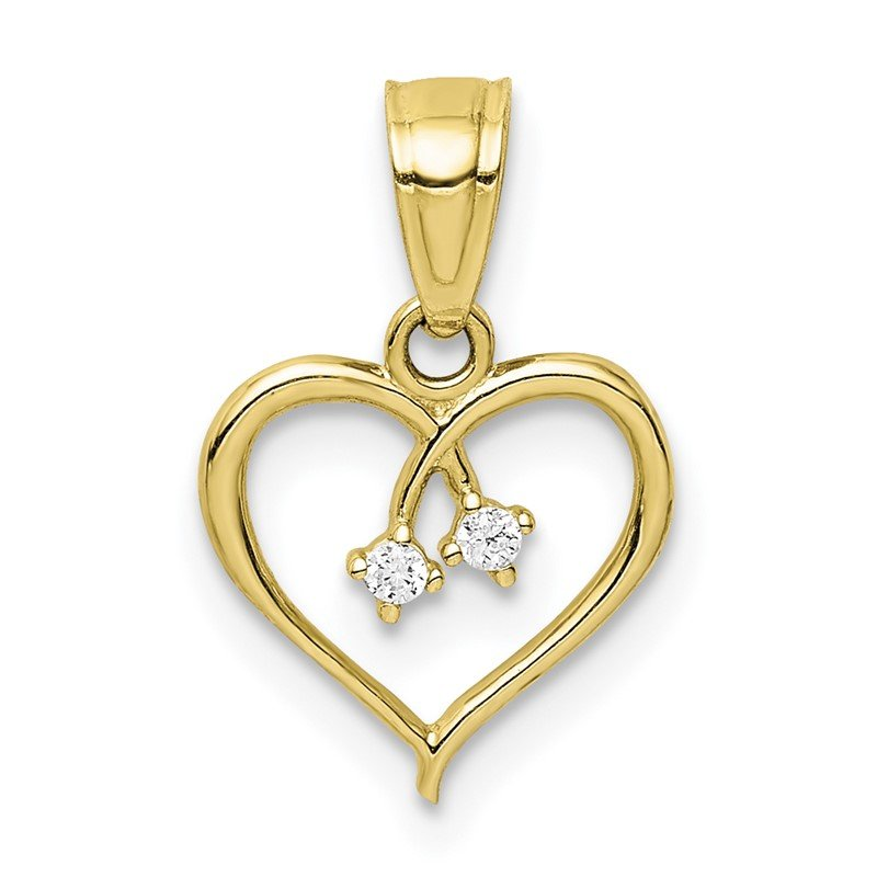 Quality Gold 10K CZ Heart Pendant