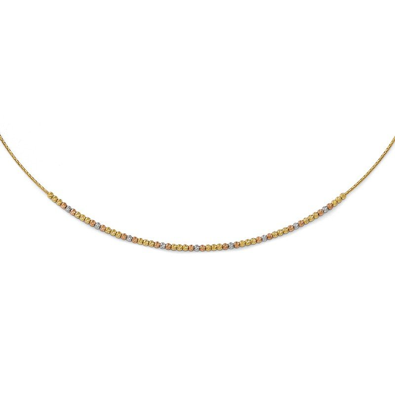 Leslie's Leslie's 14k Tri-color Polished Diamond-cut with 2in ext. Necklace