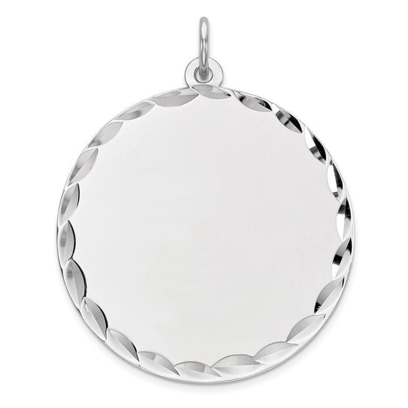 Sterling Silver Rhod-plated ENG. Round Polished Front/Back Disc Charm