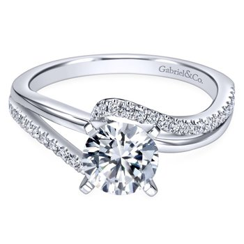 14k White Gold Diamond Pave Bypass Engagement Ring