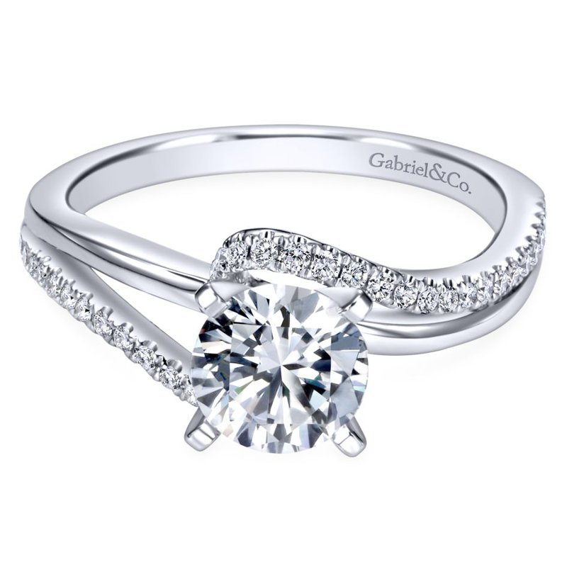 Gabriel Bridal 14K White Gold Round Bypass Diamond Engagement Ring