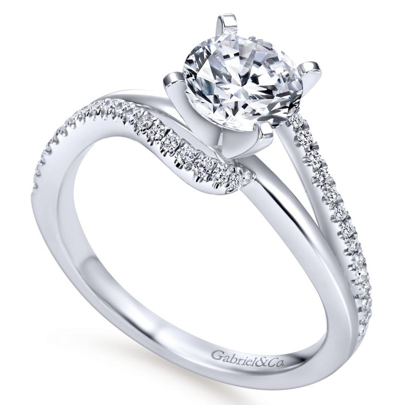 Gabriel Bridal Top Picks 14K White Gold Round Bypass Diamond Engagement Ring