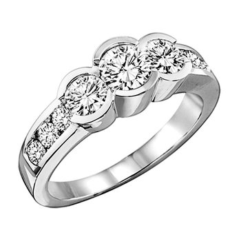 14K Diamond 9 Stone Ring 1 1/2 ctw