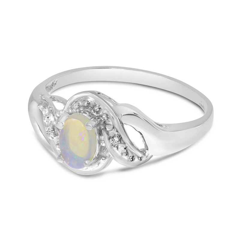 Color Merchants 10k White Gold Oval Opal And Diamond Swirl Ring