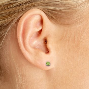 3 mm Petite Round Genuine Peridot Stud Earrings in 14k White Gold