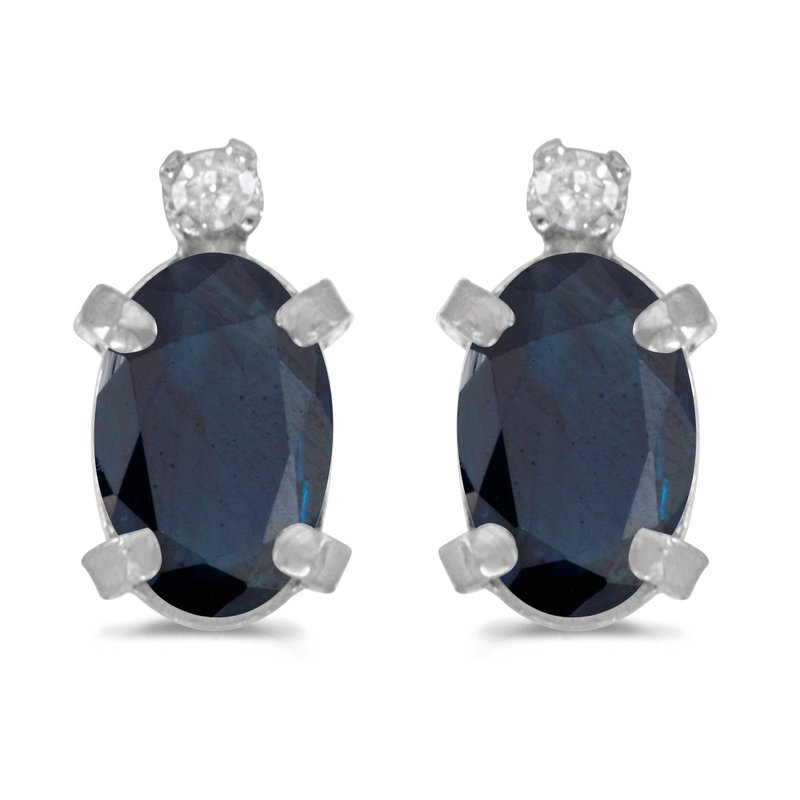 Color Merchants Sterling Silver Oval Sapphire and Diamond Earrings