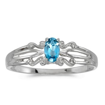 10k White Gold Oval Blue Topaz Ring