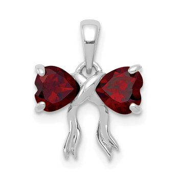 14k White Gold Polished Garnet Bow Pendant