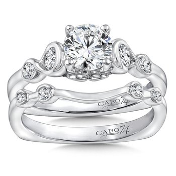 Diamond Engagement Ring in 14K White Gold with Platinum Head (3/4ct. tw.)
