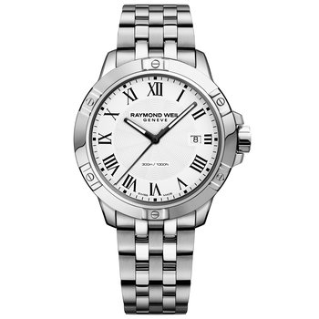 Men's Quartz Date Watch, 41mm Steel on steel, white dial