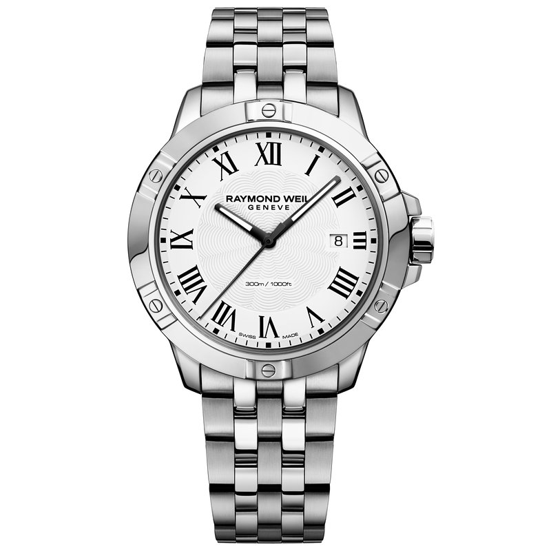 Raymond Weil Men's Quartz Date Watch, 41mm Steel on steel, white dial
