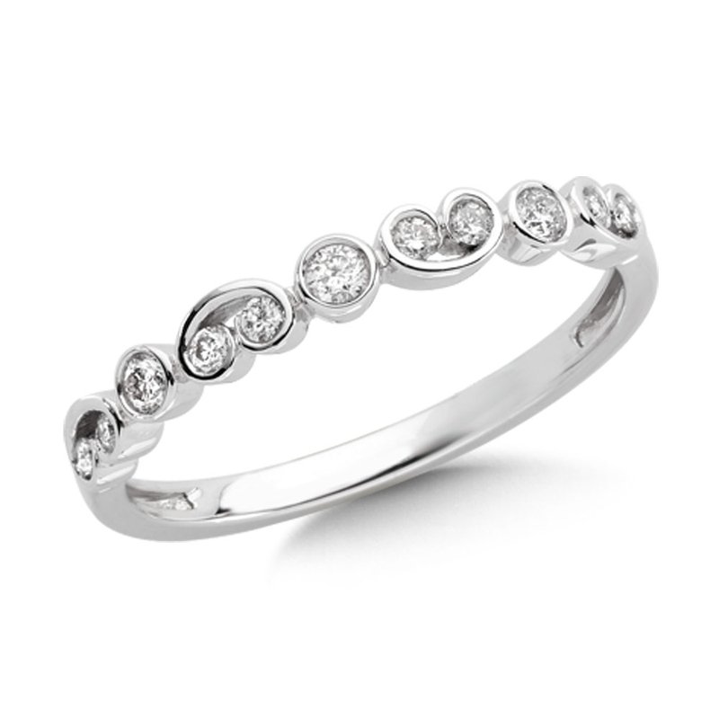 Pave and bezel set Diamond Scroll Design Stackable Ring set in 14k White Gold (1/5 ct. tw.) JK/I1