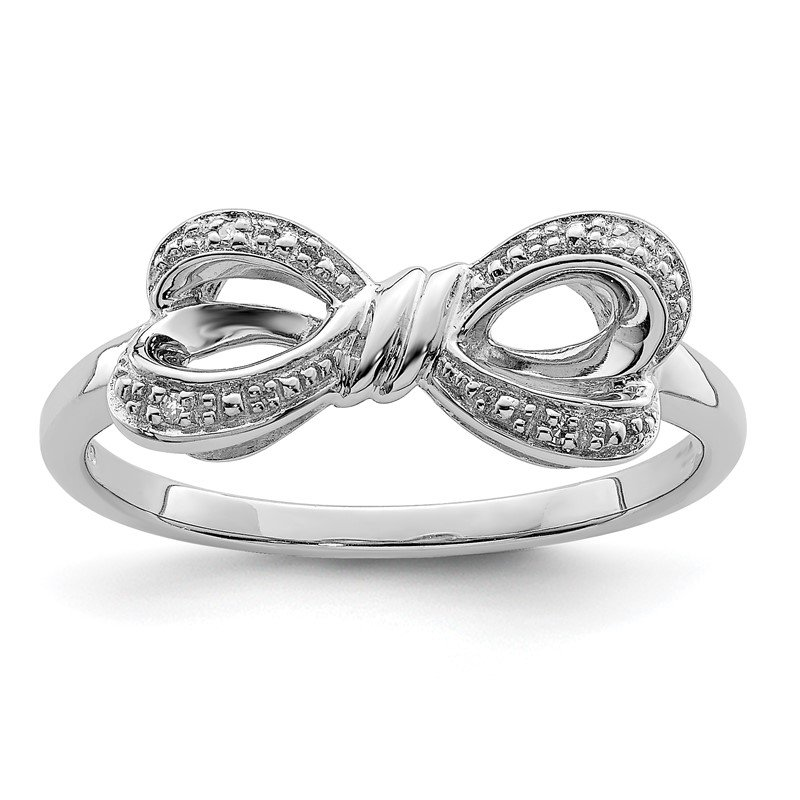Quality Gold Sterling Silver Rhodium Plated Diamond Bow Ring