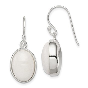 Sterling Silver White Mountain Jade Shepherd Hook Earrings