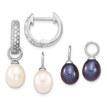 Sterling Silver RH 7-8mm Wte/Blk FWC Pearl CZ Changeable Earring