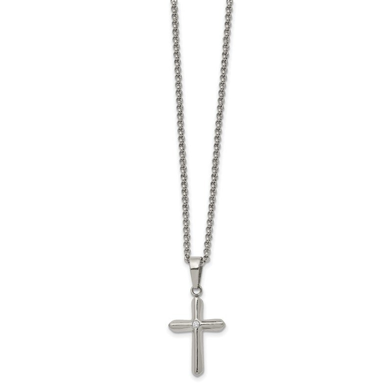 Chisel Stainless Steel Polished with CZ Cross 22in Necklace
