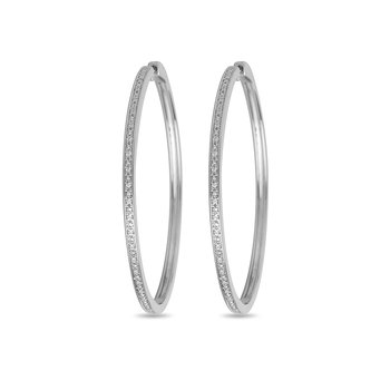 925 SS and CZ Hoop Earring in Channel Prong Setting in Safe Clasp Design