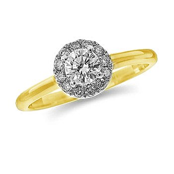 14K YG and diamond halo Engagement ring in prong setting for mounting of Center round stone 5MM