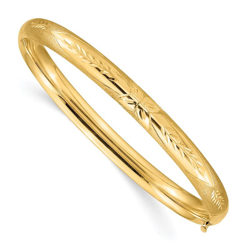 Quality Gold 14k 4/16 Florentine Engraved Hinged Bangle Bracelet