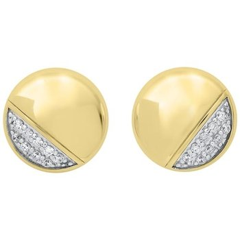 Diamond Button Asymmetrical Stud Earrings in 14k Yellow Gold (1/6ctw)