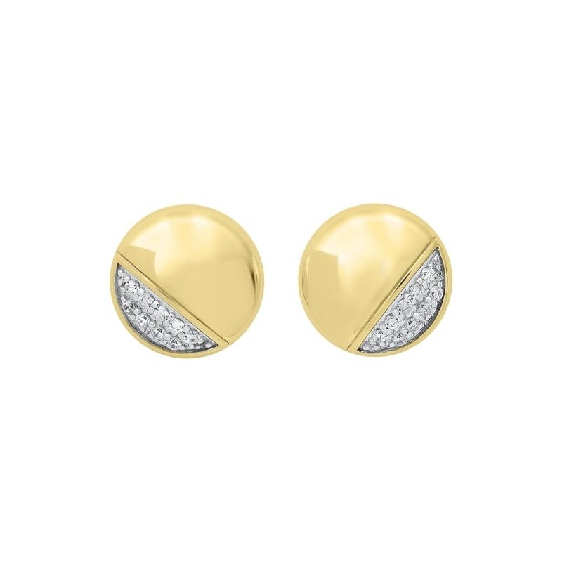 Gems One Diamond Button Asymmetrical Stud Earrings in 14k Yellow Gold (1/6ctw)